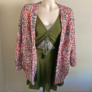 CHARLOTTE RUSSE chunky dolman colorful cardigan
